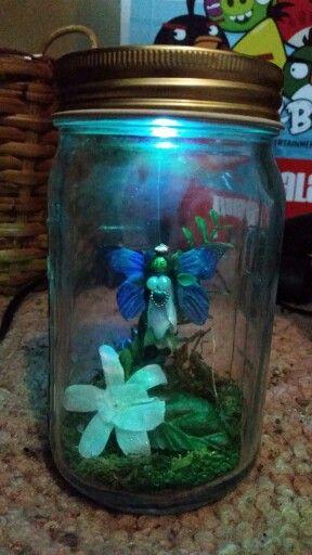 Handmade fairy in a jar nightlight