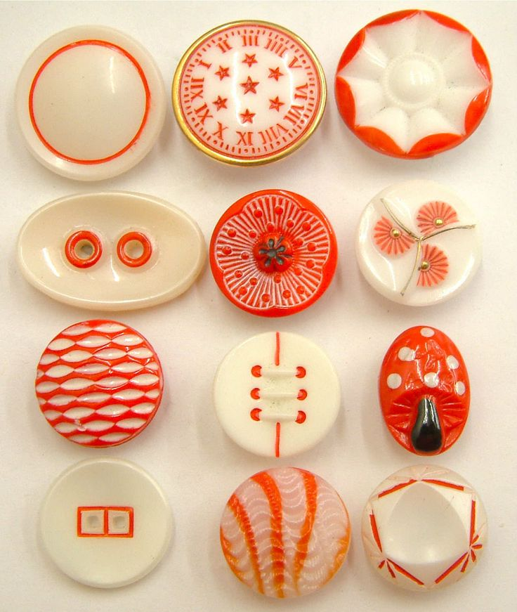 12 Vintage Red & White Glass Buttons, Clock-Face, Poppy, Toadstool, Art Deco