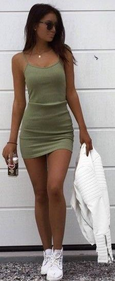 #summer #trending #outfitideas | Olive Green Ribbed Knit Dress