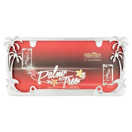 Cruiser Accessories, Model #19003 Palm Tree License Plate Frame, Chrome, Silver