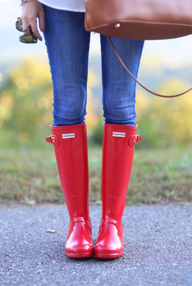 red rain boots for rain days