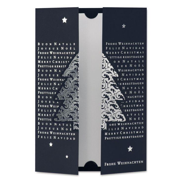 edle klappkarte mit silberpr gung und 3d tannenbaum die. Black Bedroom Furniture Sets. Home Design Ideas