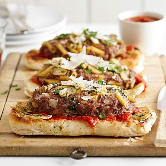 Combine two favorites, Italian food and meat loaf! More ground beef recipes:  http://www.bhg.com/recipes/beef/ground-beef-recipe-ideas/?socsrc=bhgpin092013pastaandmeatballsmeatloaf&page=1