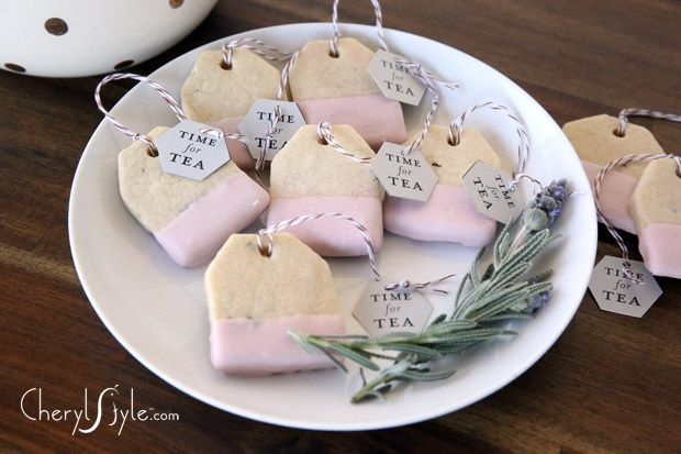 Tea Party Birthday Party Ideas | Food | Tea bag shaped lavender and lemon cookies #recipe