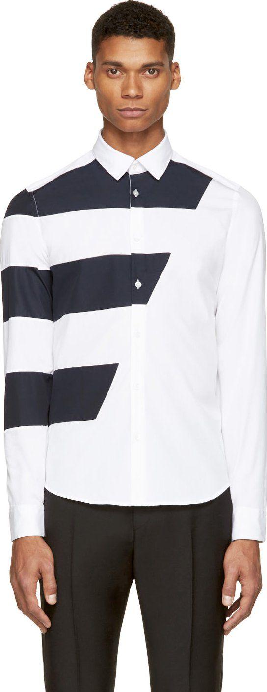 Kenzo White Asymmetrical Stripe Shirt