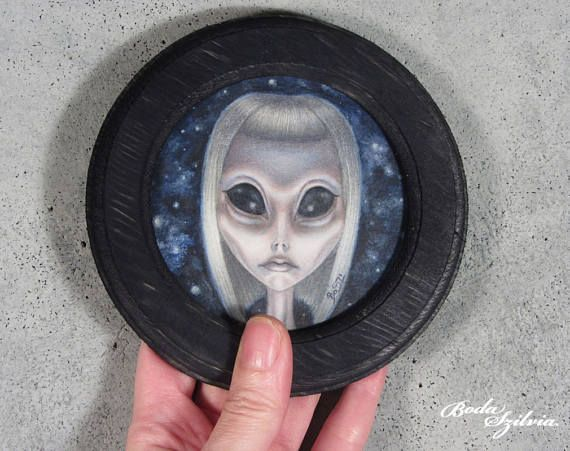 Alyssa the alien girl original framed art big eye, art pop surrealism, low brow art by bodaszilvia on etsy