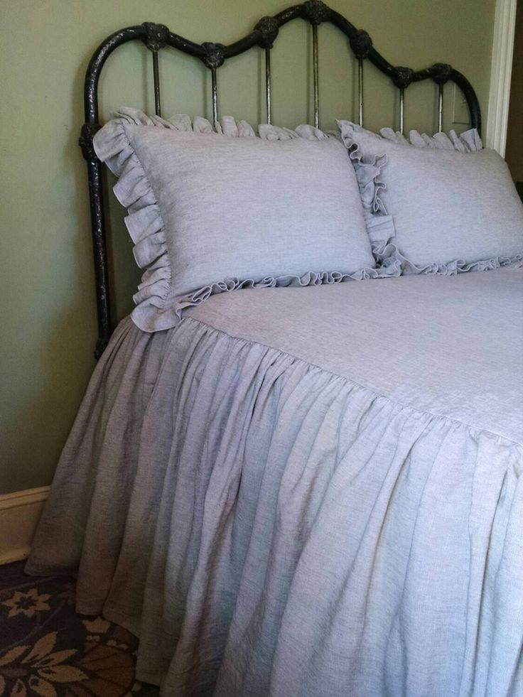 Skirted Coverlet In 100% Linen   Bedding Set Twin / Twin XL / Full /