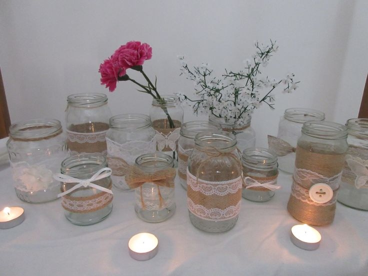 Handmade Jars with lace and Hessian by BowsandSurprises on Etsy
