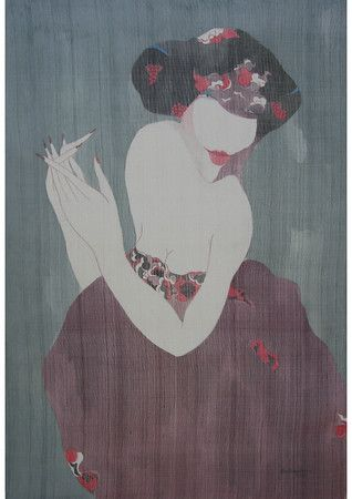 Artist - Bui Tien Tuan Title - A Lady  Medium - Pen and Ink, Watercolor on Silk Dimensions - 61cm x 91cm Status - Private Collection Tokyo