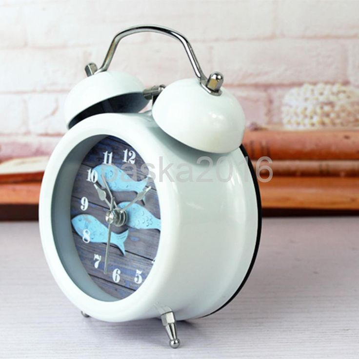 Mediterranean Analog Twin Bell Non-Ticking Alarm Clock Tabletop Ornaments H
