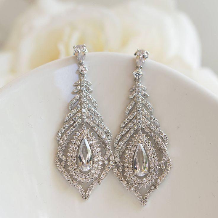 Peacock Wedding | Peacock Earrings | Feather Earrings | Peacock Jewelry | Bridal Earrings | Weddings – Jewelry