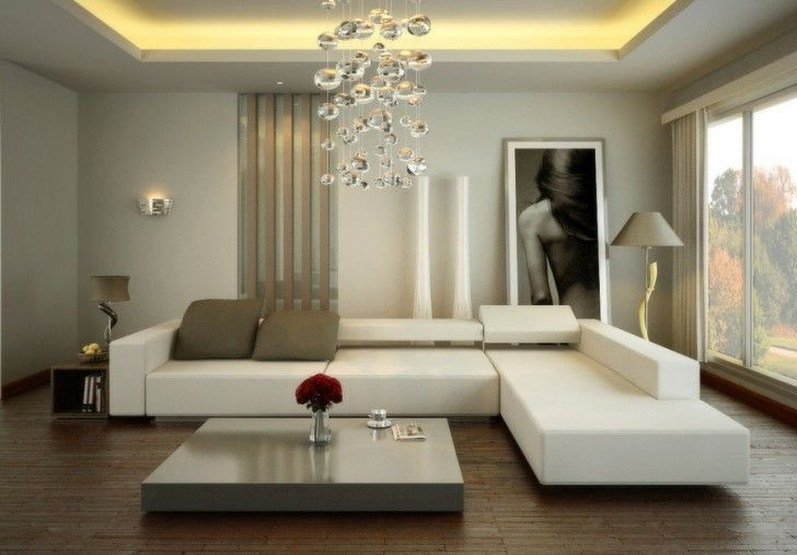 Living Room, Concrete Lamp Flower Vase Contemporary White Living Room Coffee Table Silver Cup Plate Cushions White Beige Sectional Sofa Wooden Floor Standing Lamp Table Lamp Newspaper Photo Curtain And Window ~ Luxury Modern Living Room In Amazing House