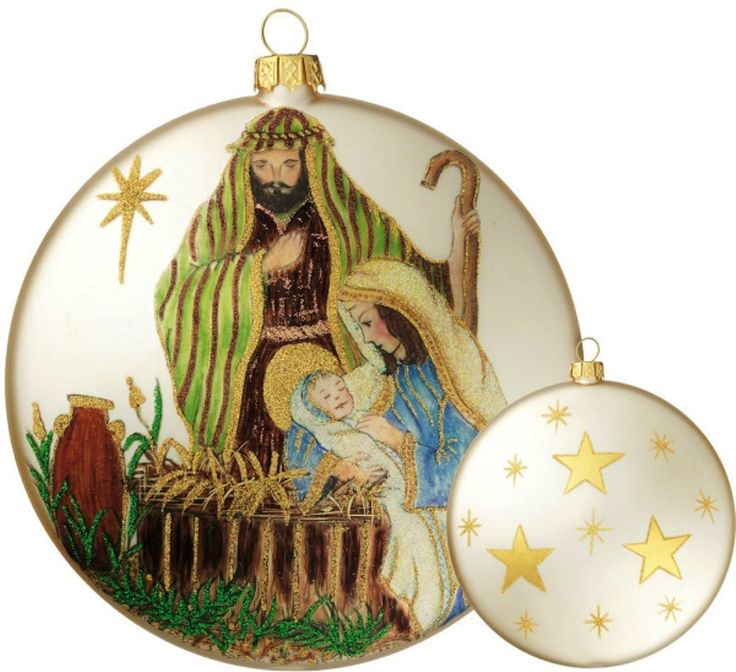 Holy Family With Angel Hair Glass Ornament