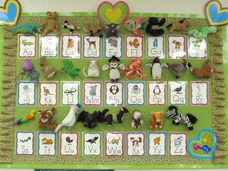 My Zoo Phonics board with Beanie Babies for this year