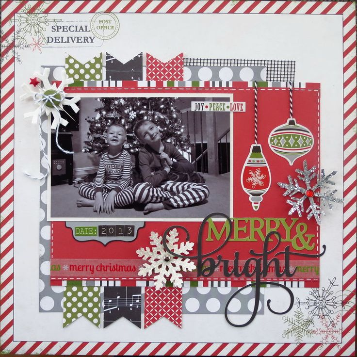 Merry & Bright Christmas Scrapbook Layout