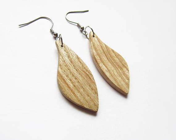 Wooden earrings natural earrings ash wood earrings bright