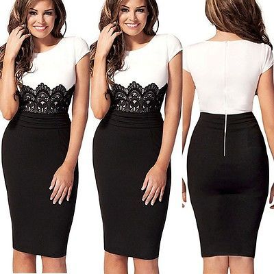 █ ██ Womens Celeb Lace Wear to Work Evening Cocktail Party Bodycon Pencil Dress   eBay