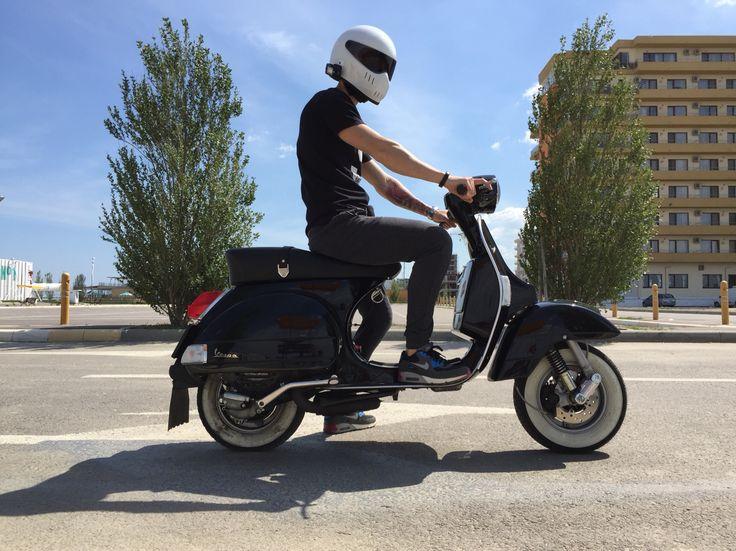 Vespa PX 150 and Bandit XXR Helmet