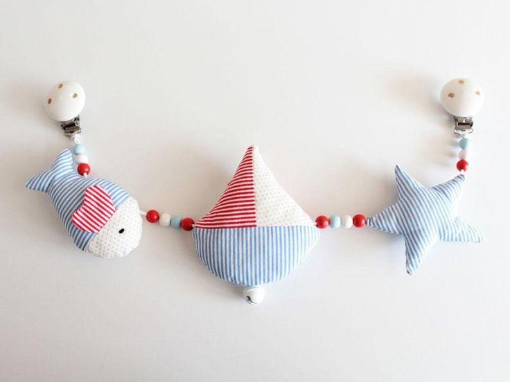Kinderwagenkette Maritim Gratis Namensstickerei von Handmade by Herzig ♥ Genaehtes auf DaWanda.com