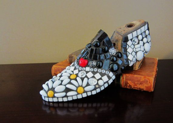 Custom MOSAIC shoe last -- Vintage Shoe Last mosaic ... custom made with your choice of colors and inscription ..great gift idea