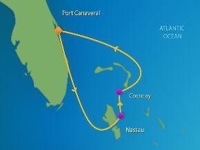 Enchantment of the Seas 3 Day Bahamas Cruise Itinerary including Nassau, Bahamas and Coco Cay