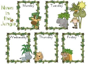 FREE News Chart Jungle Theme Classroom Poster - 2 pages - maybe home school communicator?