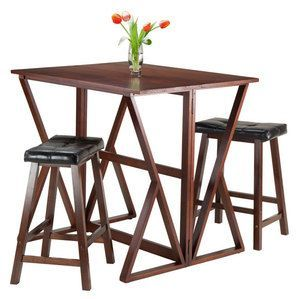 "Winsome Wood Harrington 3-Pc Drop Leaf High Table, 2 - 24"""" Cushion Saddle Seat Stools"