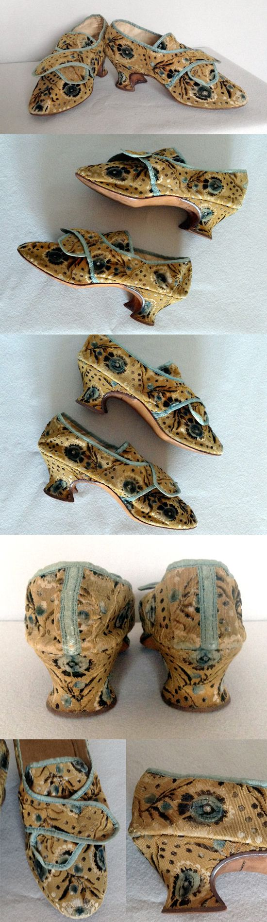 French Ciselé Voided Velvet Shoes, 1770's. very unusual being made with voided velvet, which may been have a remnant left over from the making of a gentleman's coat or waistcoat. It is not the type of fabric used for women's dresses. | Meg Andrews