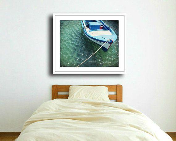 Griechenland-Fotografie Boot Print Petrol Wand von LupenGrainne
