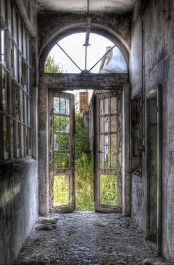 abandoned doors to an abandoned garden