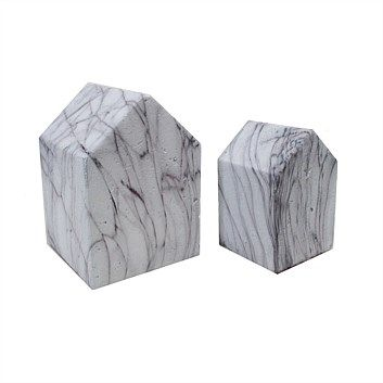 Living & Giving - Marble Look House Decoration 10.5x10.5x15.2cm
