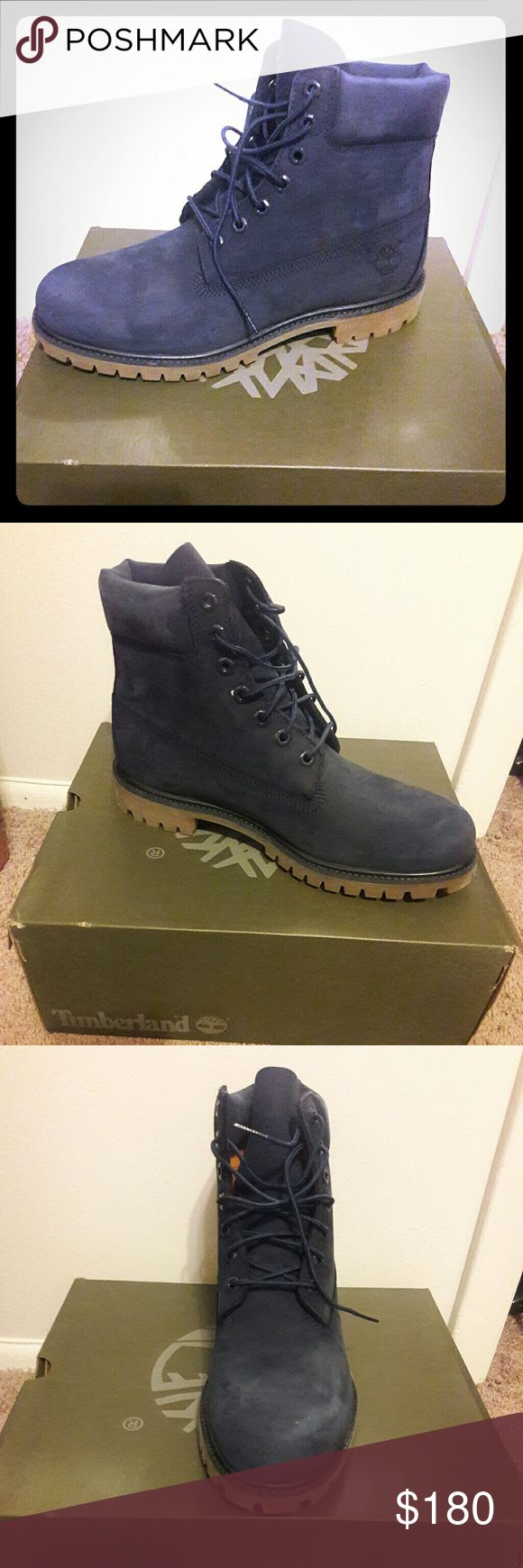 Navy Blue Timberland Boots.. All navy blue suede timberland boots, brand new with box..never worn...fly&flashy just like on the pictures Timberland Shoes Boots
