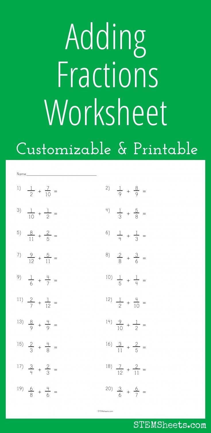 A customizable and printable worksheet for practice subtracting fractions  with like and unlike denominators. Each unique PDF includes an answer sheet.
