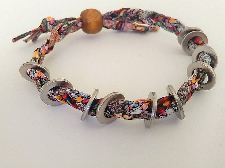 Multi-coloured braided Liberty Print fabric bracelet with metal by BeelineEmporium on Etsy