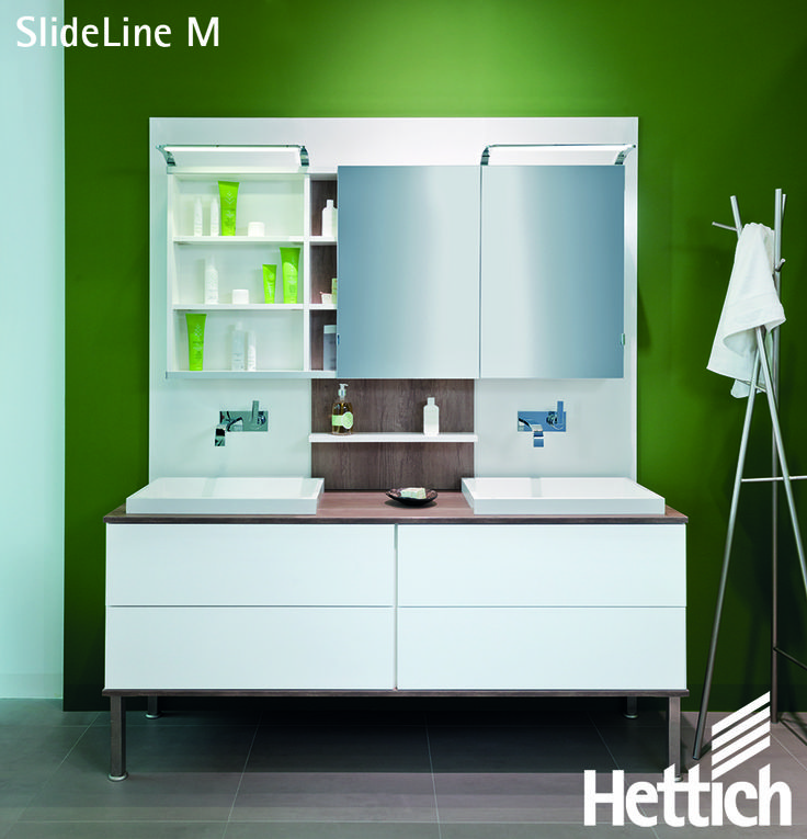 The SlideLine M Sliding Door Systems from Hettich provides the capability of combining open & closed sections in furniture.Click on the pin for more inspiration & information! #slidingdoors #bathroomcabinets