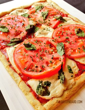 """Paleo pizza from PALEO CUPBOARD - includes a non-dairy """"cheese"""" recipe"""