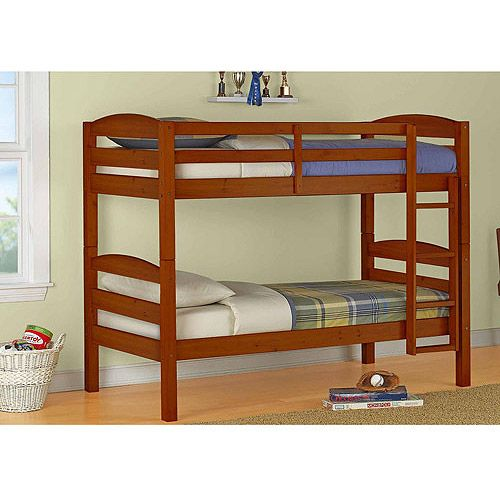 bundle set with 2 mattresses mainstays twin over twin wood bunk bed with set of
