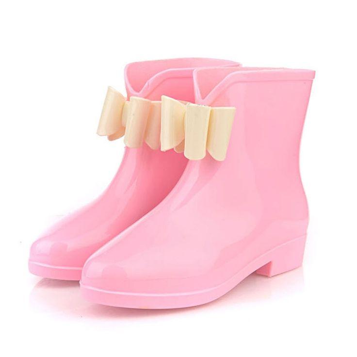 New Women Fashionable Flower Bowknot Decor Flat Heel Antiskid Waterproof Short Rain Boots Pink & White 36#  #men #women  #shoes #fashion