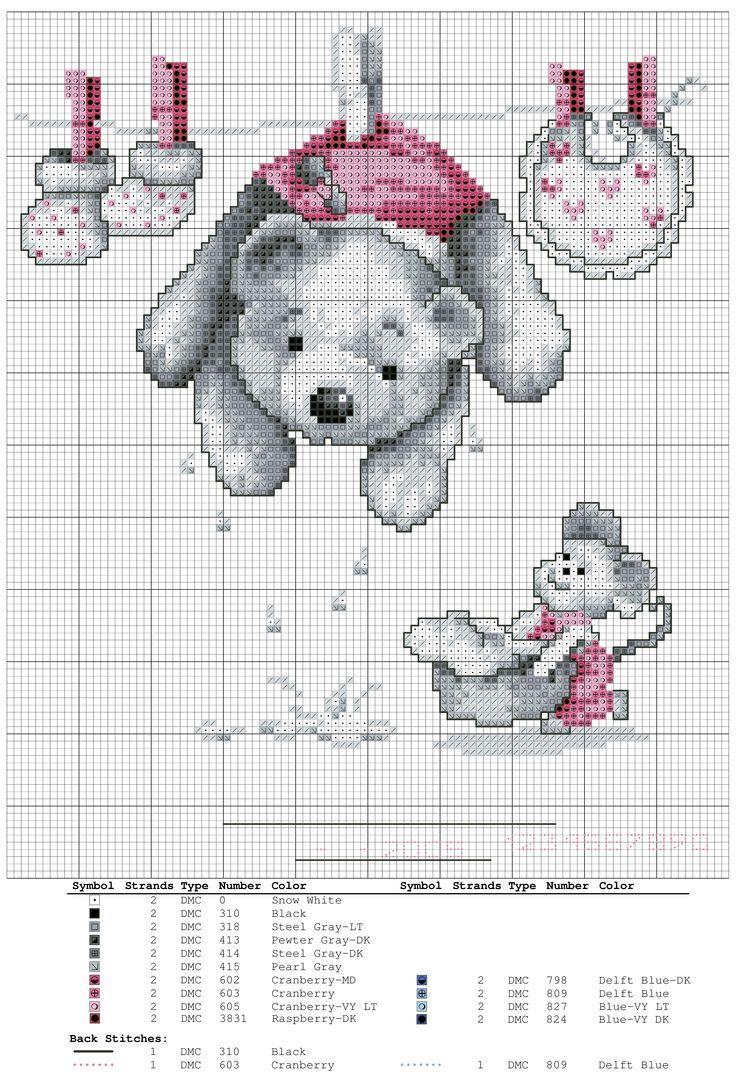 0 point de croix grille et couleurs de fils bébé, ourson étendu sur un fil avec un bavoir
