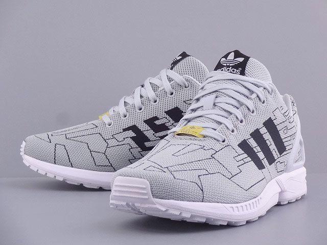 men's adidas light grey zx flux weave trainers