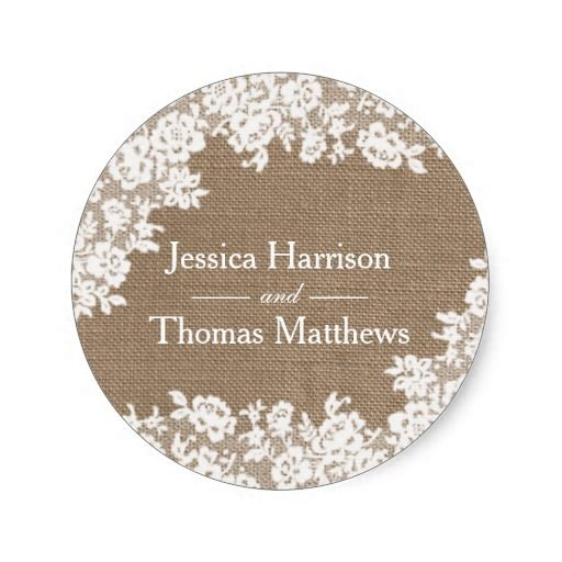 The rustic burlap vintage white lace collection classic round sticker