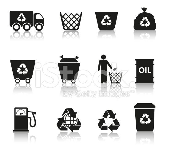 Eco recycling icon set in black silhouettes royalty-free stock vector art