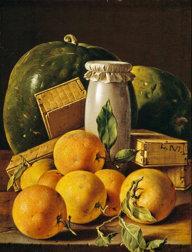 """Still Life w/ Apricots & Watermelon"" -- Circa 1760 -- Luis Melendez -- Spanish -- Oil on canvas -- The Prado, Madrid."
