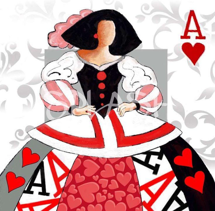 Cuadro Menina moderna poker 2 rojo negro blanco gris -SP304