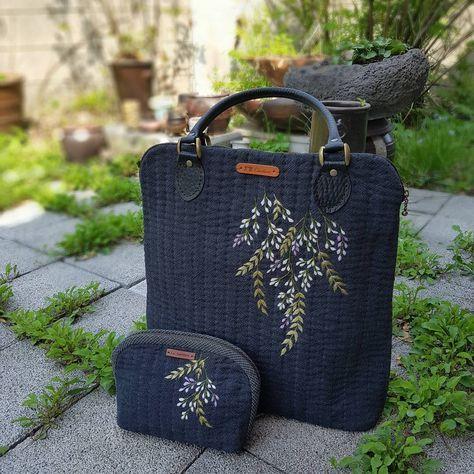 등나무꽃수 가방과 파우치 #야생화느낌자수 #야생화자수 #embroidery #야생화느낌자수본원