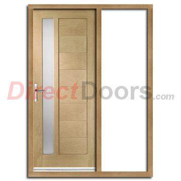 Modena Oak Door with Obscure Double Glazing and Frame Set with One Unglazed Side Screen  #doorsandframes #directdoors
