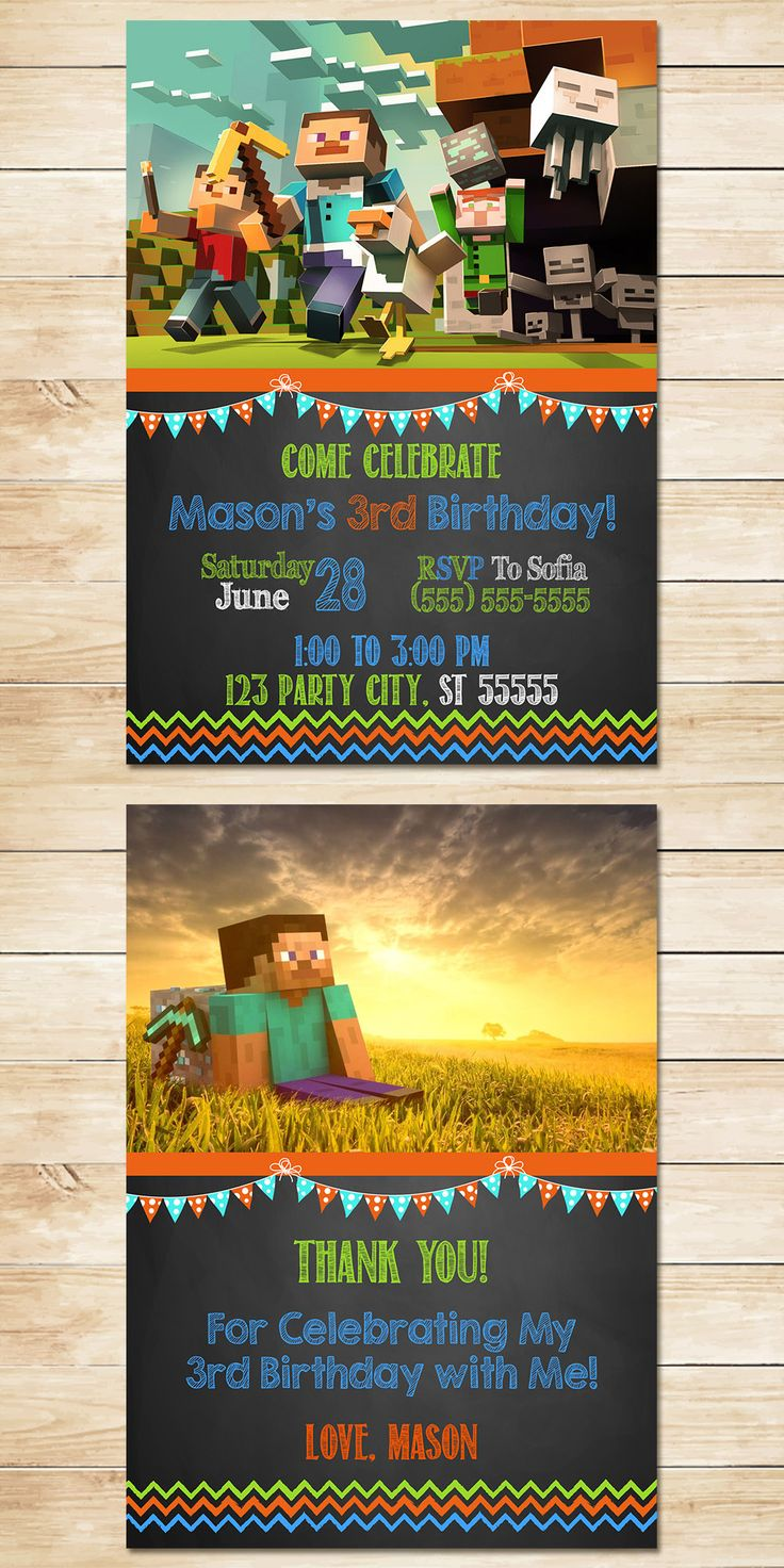 Minecraft Invitation Chalkboard Flags * Minecraft Invite * Minecraft Birthday * Minecraft Printables