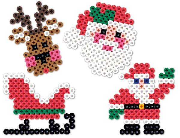The excitement of Christmas Eve is yours to make in Perler Beads! These easy projects are perfect for younger kids, and can be turned into ornaments with a wire or thread hanger.