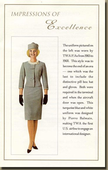 "TWA flight attendant....(in the old days we were known as ""hostesses"""