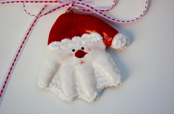 Santa Hand pop out ornament for up to 12 months or imprint santa. $32.00, via Etsy.